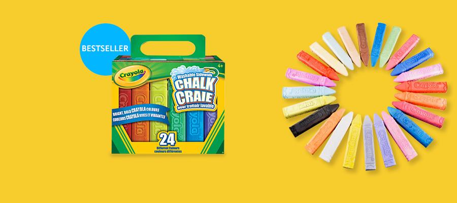 Crayola Washable Sidewalk Chalk 24 bright colours to create big, bold outdoor art