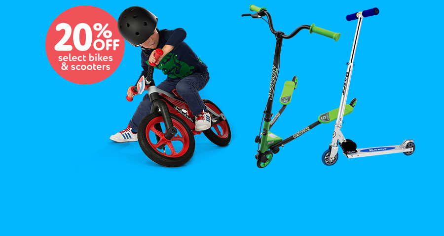 Let's ride! 20% off select bikes & scooters
