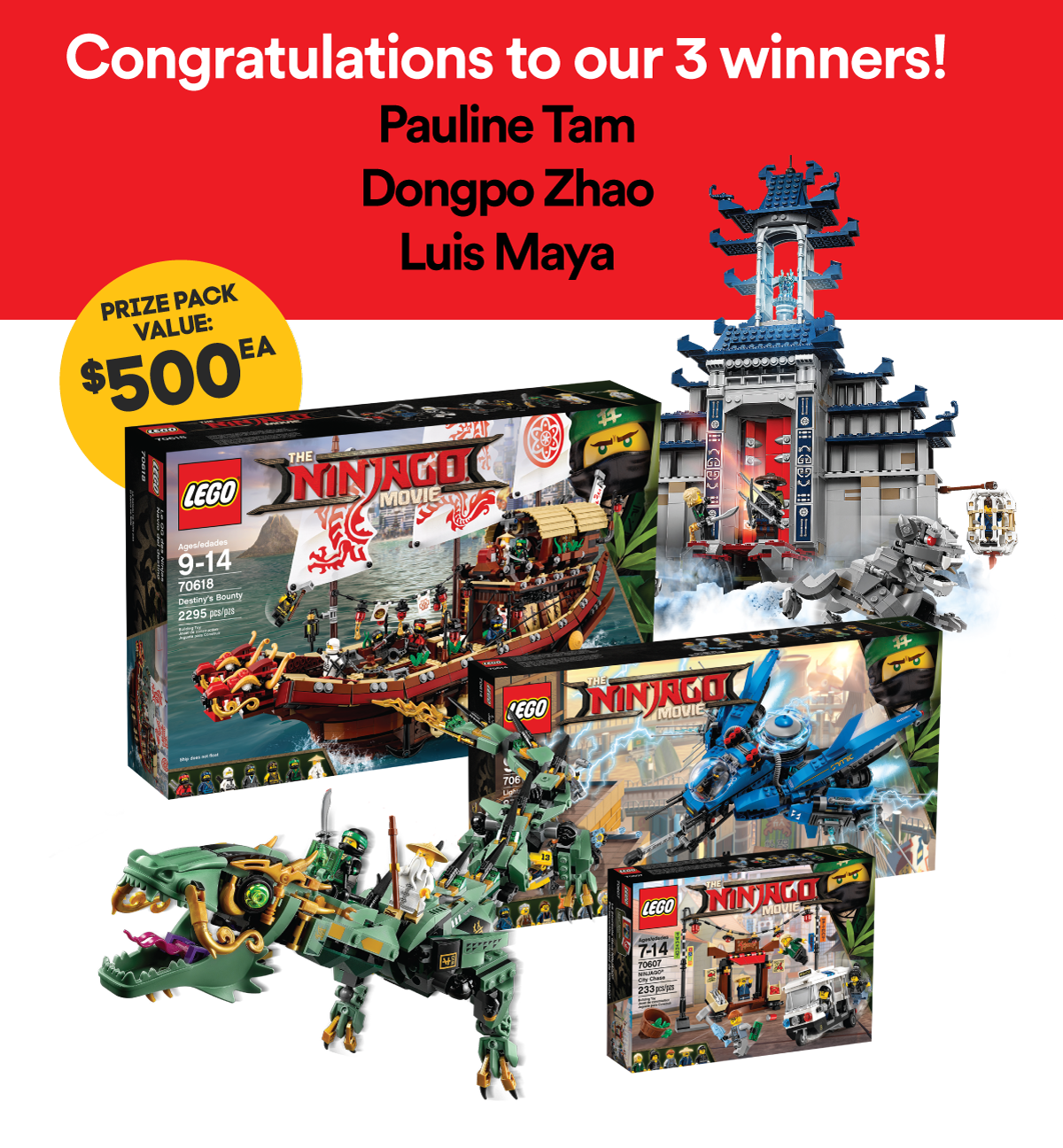 Enter to win 1 of 3 LEGO Ninjago prize packs.
